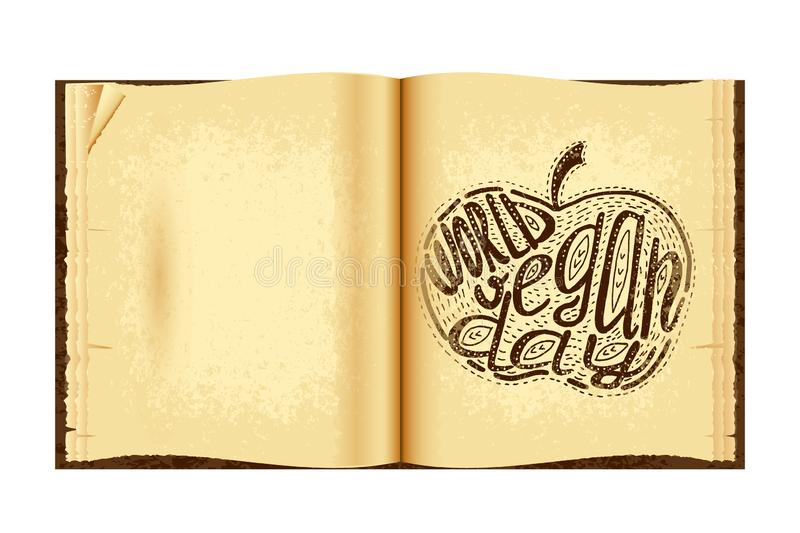 World Vegan Day. Lettering handmade with the name of the event inscribed in the apple. Imitation of a drawing in the old book vector illustration