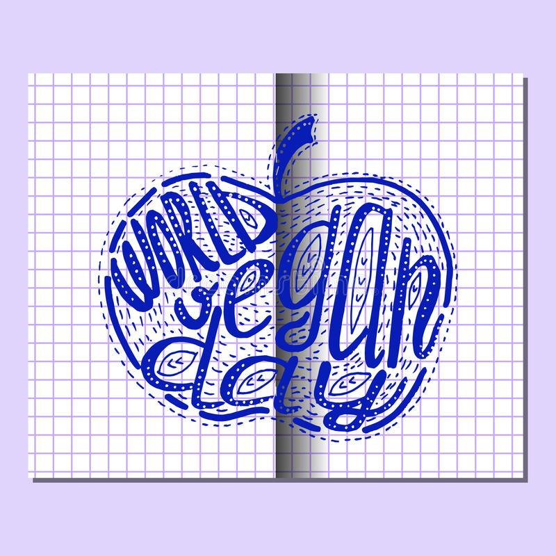 World Vegan Day. Lettering handmade with the name of the event inscribed in the apple. Imitation of a drawing in a school notebook stock illustration