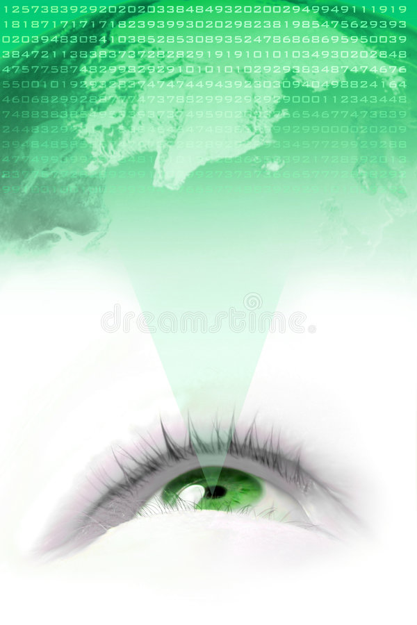 World vision. Floating green eye projecting the world and it's numbers stock illustration
