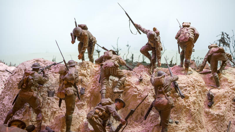 World war battle. A set of miniature models of military men fighting each other. This is a display of the previous wold war setting royalty free stock image