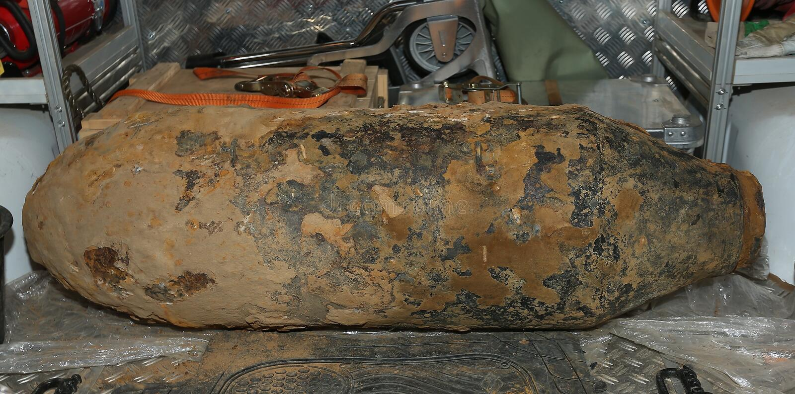 World War 2 Bomb Düsseldorf Germany. World War 2 American 500 kg (1000lbs) Bomb is found whilst preparing a building site , The Bomb was safely defused. The stock photo