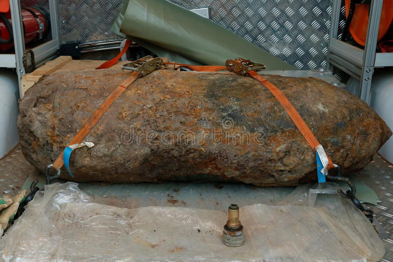 World War 2 Bomb Fuse Düsseldorf Germany. World War 2 British 250 kg (500lbs) Bomb is found whilst preparing a building site , The Bomb was safely defused stock photos