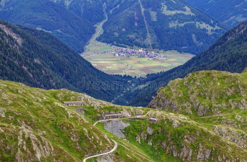 World War I barack ruins in mountain pass between Italy Austria stock photography
