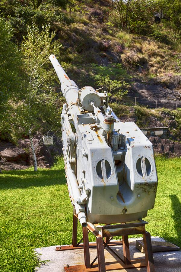 World War I Cannon under a mountain royalty free stock photography
