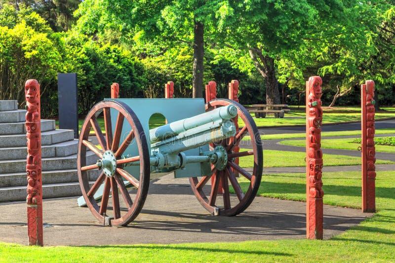 World War I Krupp gun in Government Gardens park, Rotorua, New Zealand stock image