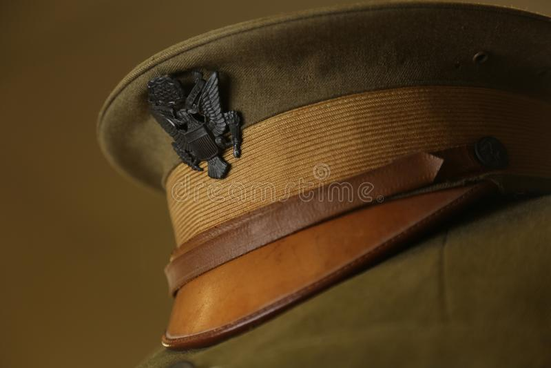World War I uniform. World War I Army officer`s garrison cap featuring U.S. Shield emblem royalty free stock image