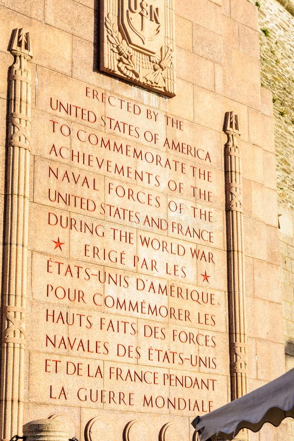 The World War I US Naval Monument, in Brest stock photos