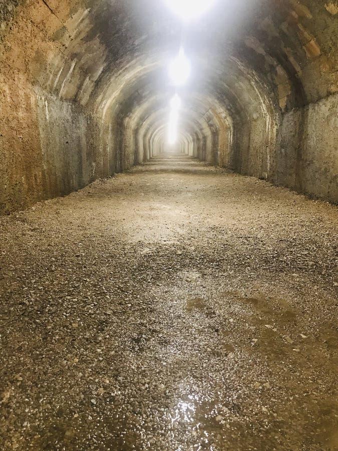World war II abandoned tunnel. Isolated abandoned tunnel from world war Ii stock photos