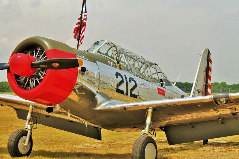 World War II Airplane. A Vultee BT-13 Valiant, an American World War II-era basic trainer aircraft, that was on display at the Valiant Air Command Warbird Museum royalty free stock photography
