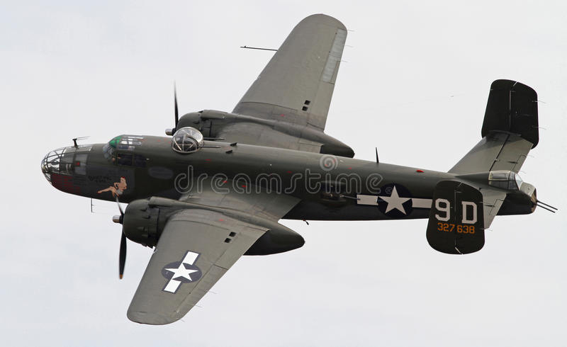World War II B-25 Mitchell Bomber. Performing during Warbirds Over Monroe Air Show in Monroe, NC, on November 4, 2012 royalty free stock photography