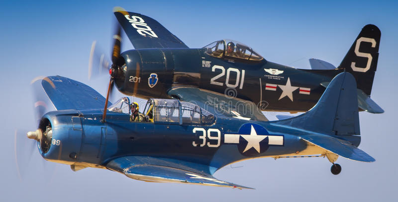 World War II fighter planes. Diorama of two vintage World War II fighter planes in air stock image