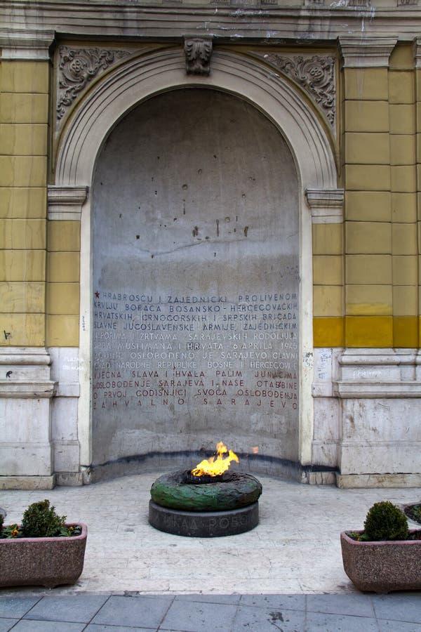 World War II Forever fire monument. Sarajevo, Bosnia and Herzegovina stock photo
