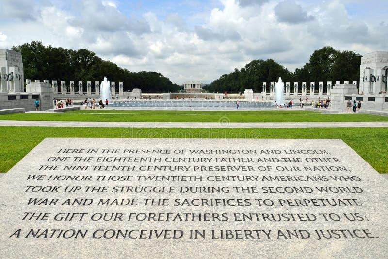 World War II Memorial. Inscription on World War II Memorial, National Mall, Washington DC royalty free stock photography