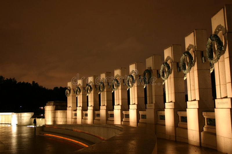 World War II memorial at night stock photos