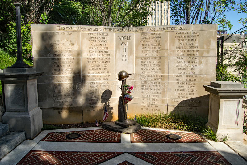 "World War II Monument – Lynchburg, Virginia, USA. Lynchburg, VA – August 17th; The ""World War II Monument"" was erected in 1986 by the stock photography"