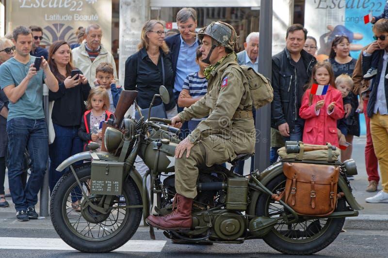 World War II motorbike in the streets of Lyon royalty free stock photo