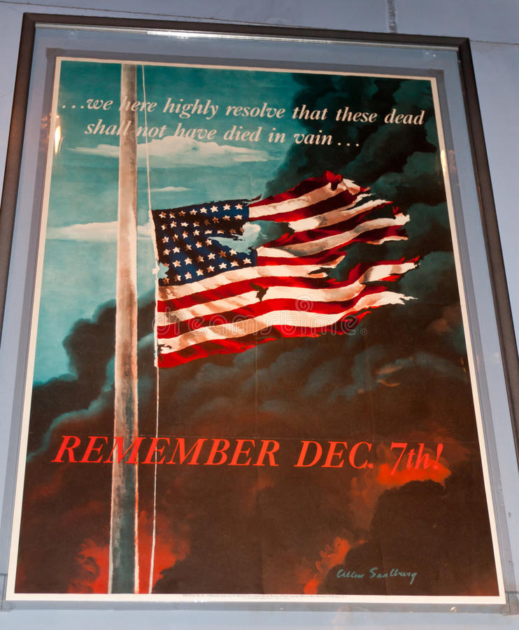 World War II Poster. Commemorating and remembering the attack on Pearl Harbor on December 7th, 1941. Smithsonian National Museum of American History in stock images