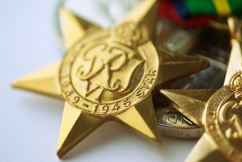 World War II Star Medal. The 1939-45 Star is awarded to Australian Civilian Personnel who served afloat with the United States Army Small Ships Section between 8 stock photography