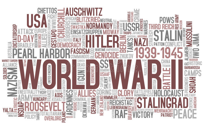 World War II Word Cloud. Concept illustration, isolated on white background. Eps file available