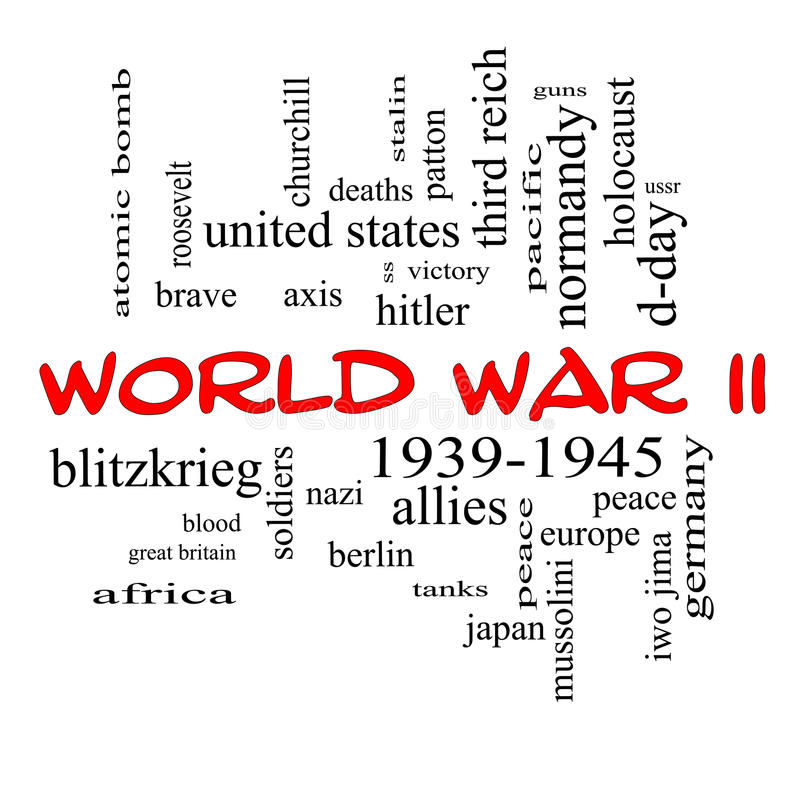 World War II Word Cloud Concept In Red Caps Stock Photo