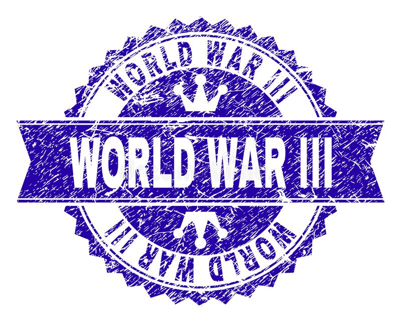 Scratched Textured WORLD WAR III Stamp Seal with Ribbon. WORLD WAR III rosette stamp seal imitation with distress style. Designed with round rosette, ribbon and stock illustration
