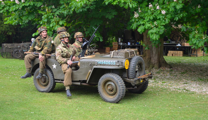 World War 2 Jeep with men dressed as World War 2 American Soldiers. royalty free stock photos