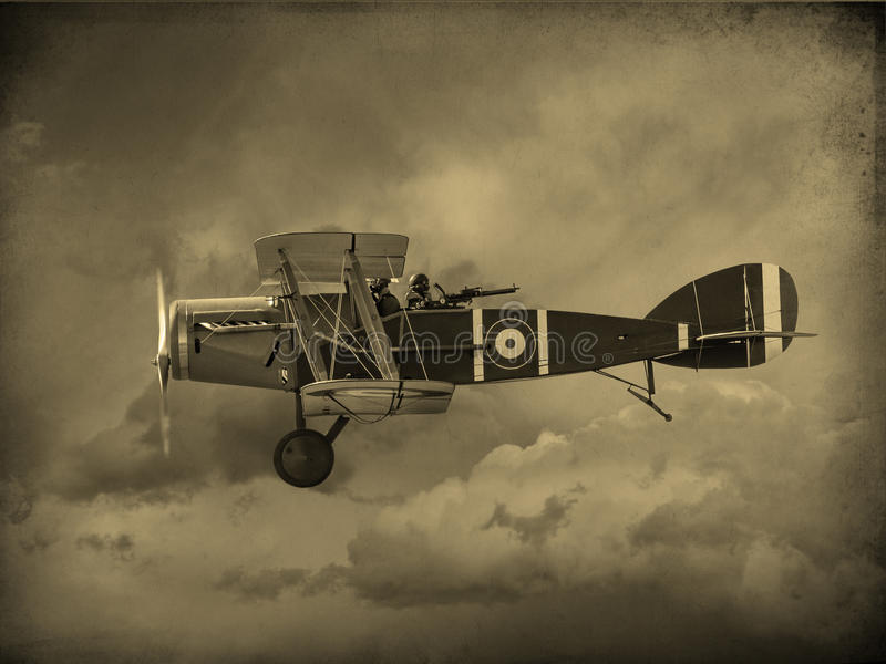 World War One Aircraft. Vintage style image of a British World War One fighter aircraft. (Artist impression stock images