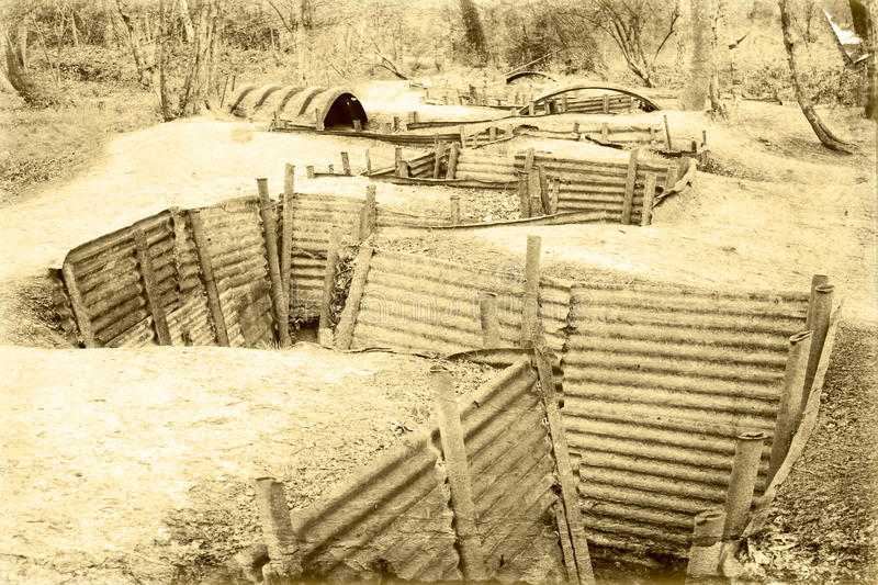 World war one trench belgium flanders. royalty free stock photos