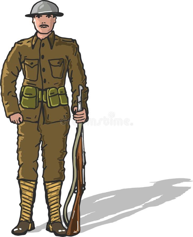 World war one us marine soldier vector illustration freehand clip-art vector illustration