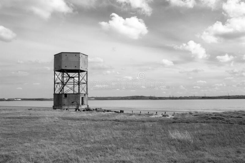 World War 2 radar control tower, Coalhouse Fort, Tilbury, Essex, England. Black and white image of the World War 2 radar control tower, Coalhouse Fort, Tilbury royalty free stock images