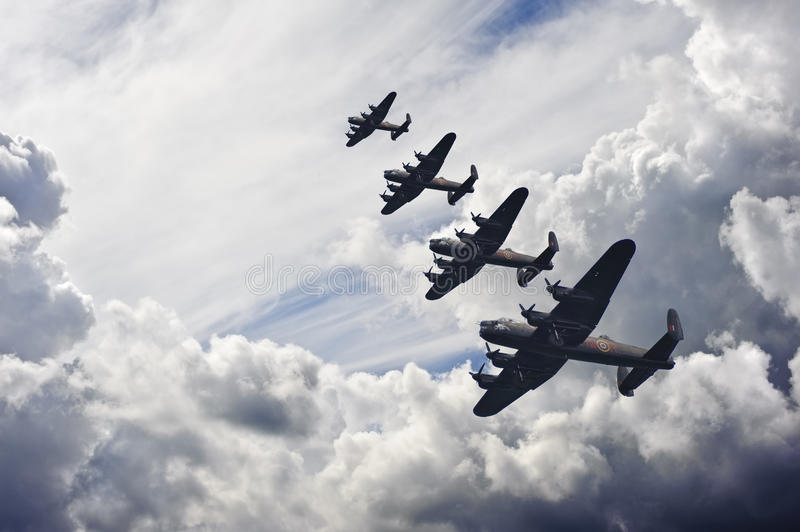 World War Two British vintage flight formation royalty free stock photography