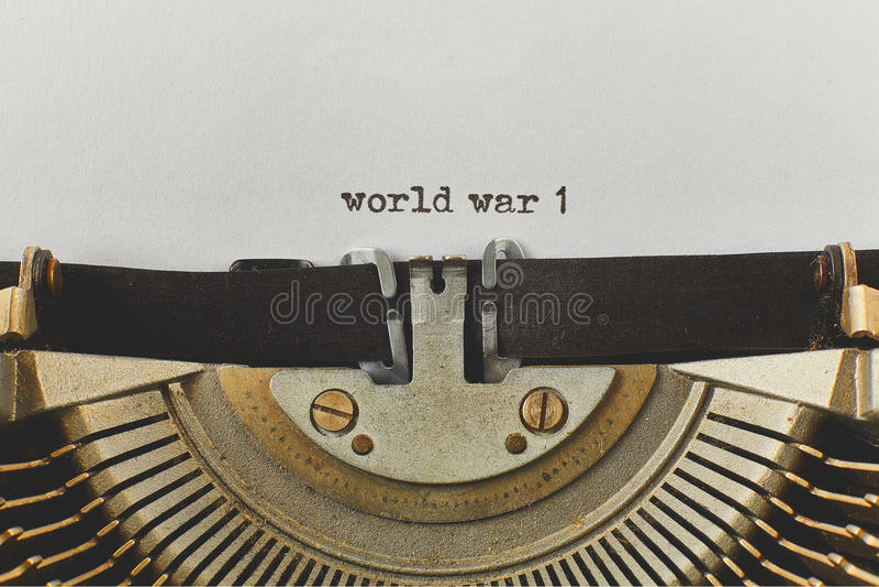 World war 1 typed words on a vintage typewriter stock image