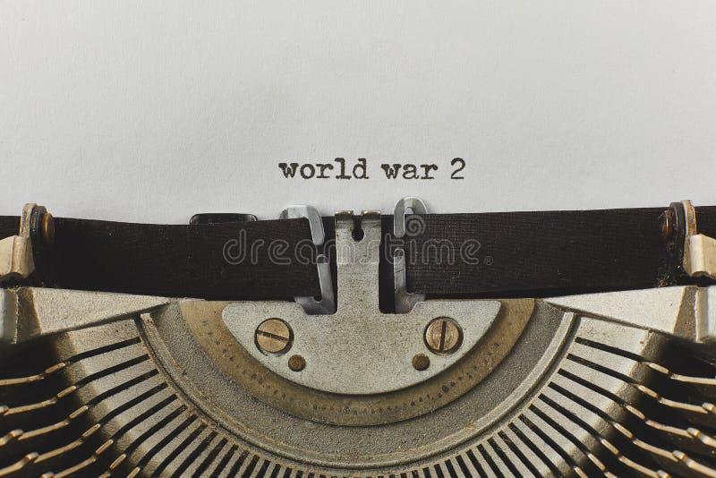 World war 2 typed words on a vintage typewriter royalty free stock photo