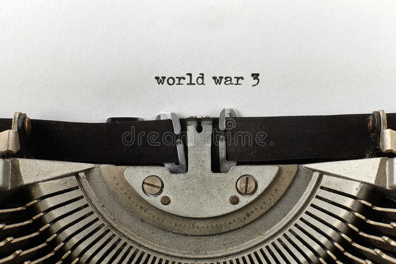 World war 3 typed words on a vintage typewriter stock images