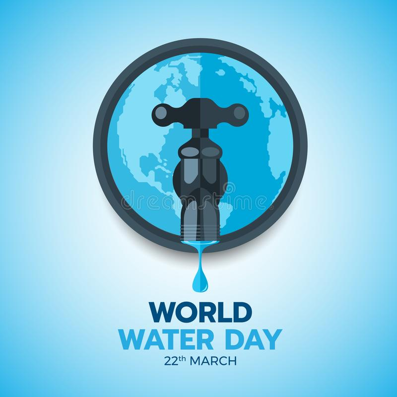 World water day banner with drop water on water tap and circle world vector design stock illustration
