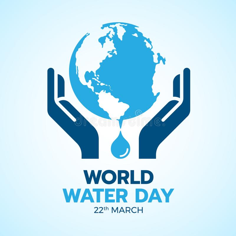 World water day banner with hand hold care earth water sign and drop water vector design royalty free illustration
