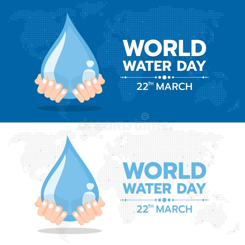 World water day banner with hand hold drop water sign on dot map world texture background vector design royalty free illustration