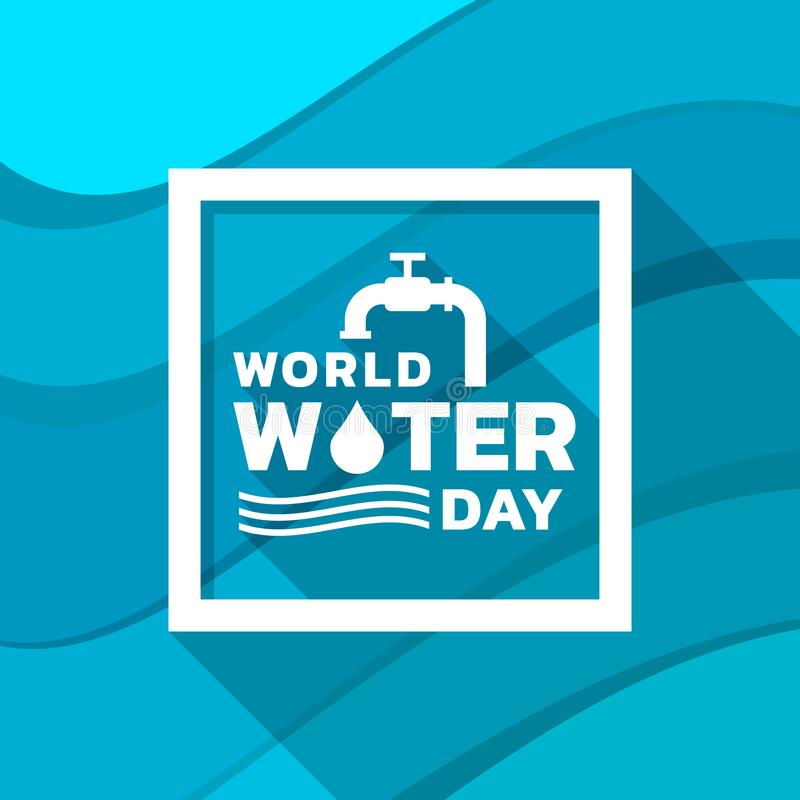 World water day banner with tap drop water ,water wave sign and typography text in frame on abstract wavy blue background vector vector illustration