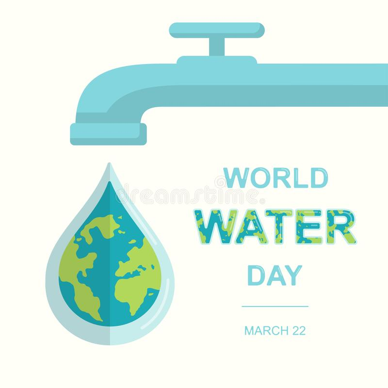 World Water Day, 22 March. royalty free illustration
