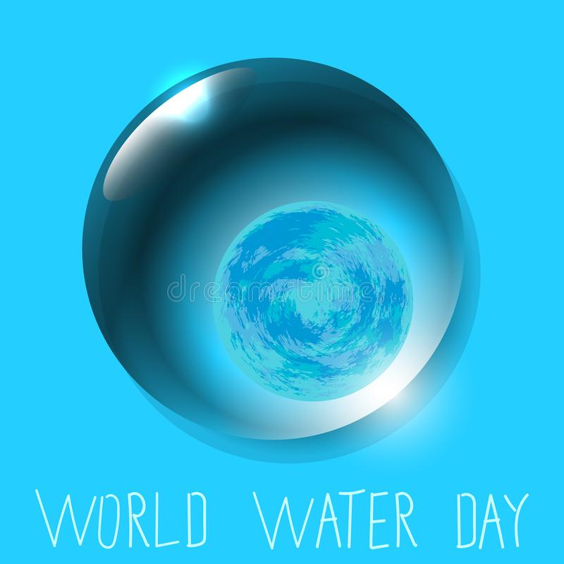World Water Day. Planet Earth in Water drop royalty free illustration