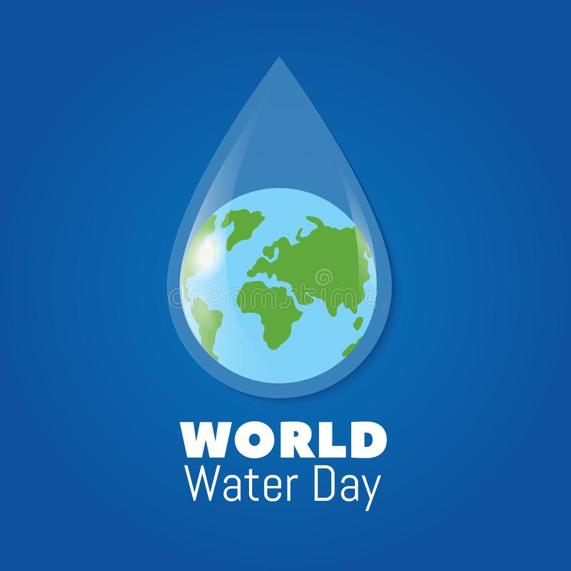 World water day poster. Earth in clear water drop. Save water vector background vector illustration