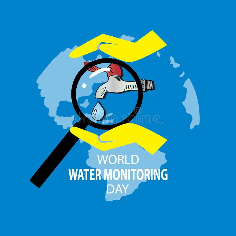 World Water Monitoring Day Concept. September 18 stock illustration