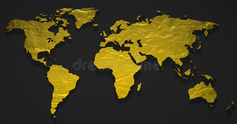 3D Gold Map royalty free illustration
