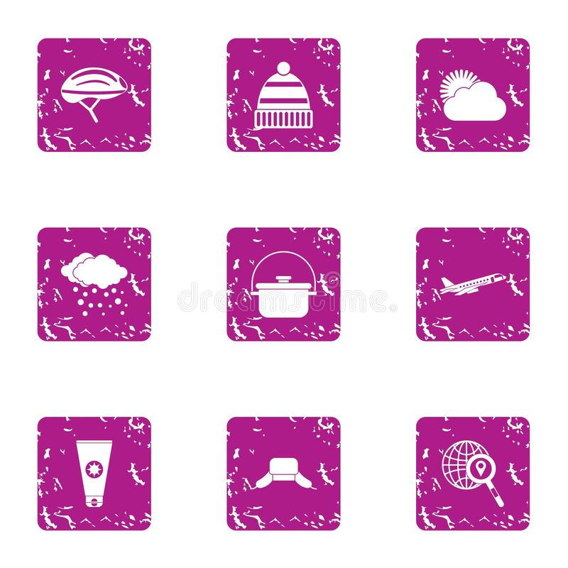 World weather icons set, grunge style stock illustration