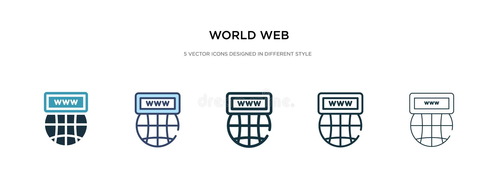 World web icon in different style vector illustration. two colored and black world web vector icons designed in filled, outline, stock illustration