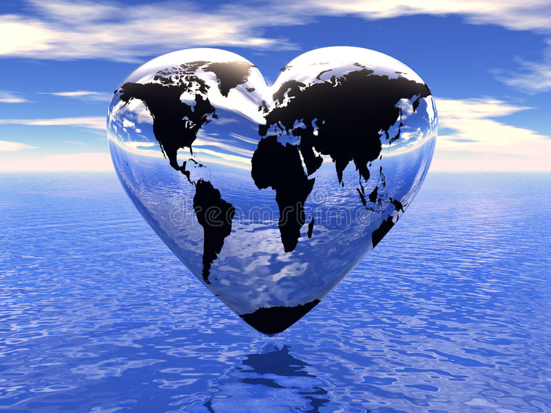 World in which lives love stock illustration