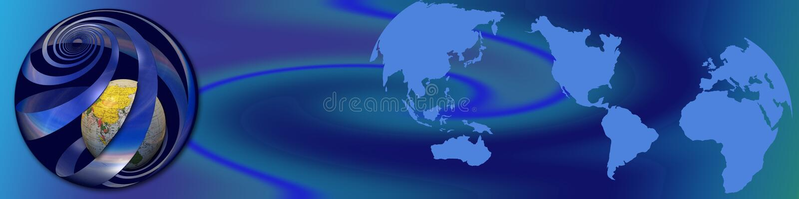 World wide activities. This basic blue banner shows a hollow swirling ball with in the inside our globe. On the right part are the continents. The shapes and vector illustration
