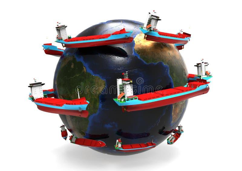 World wide Cargo ships concept vector illustration