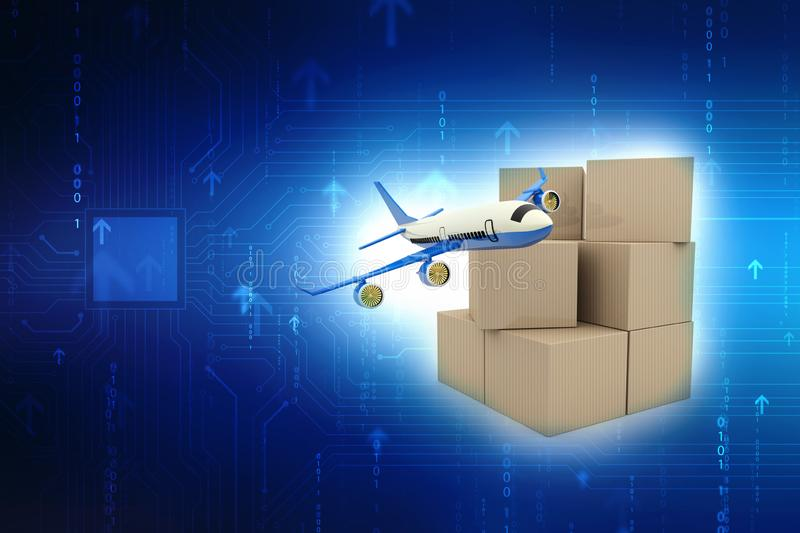 Cargo box with Airplane. Air Cargo concept. stock illustration