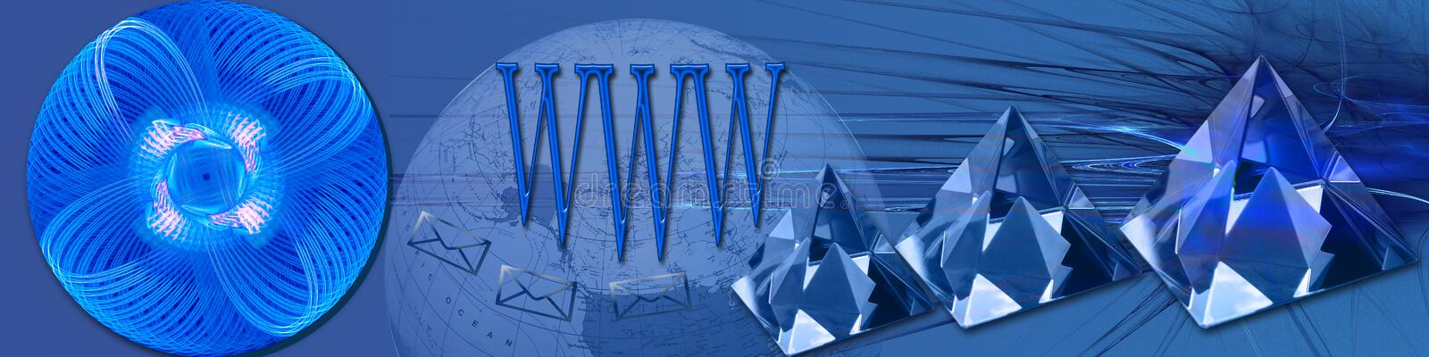 World wide crystal clear connections. This banner / header in blue tones has a creative abstract background. The crystals, WWW, envelopes and the round abstract royalty free illustration